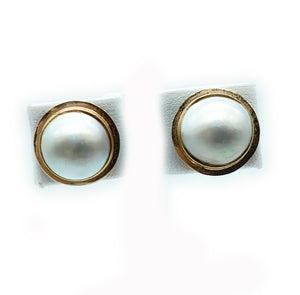 14mm Bezel-Set Cultured Button Pearl Stud Earrings in 14kt Yellow Gold