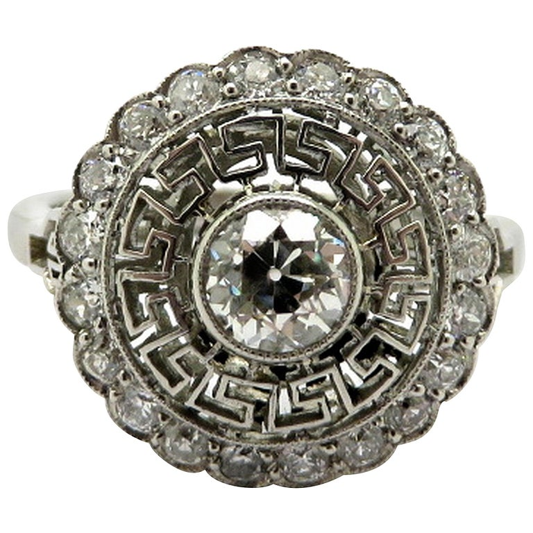 Platinum Old European Cut Art Deco Style Greek Key Diamond Halo Ring, Size 7.25