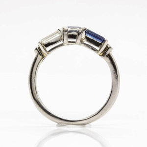 Platinum Estate Sapphire and Diamond Bypass Fashion Ring, Size 6.5