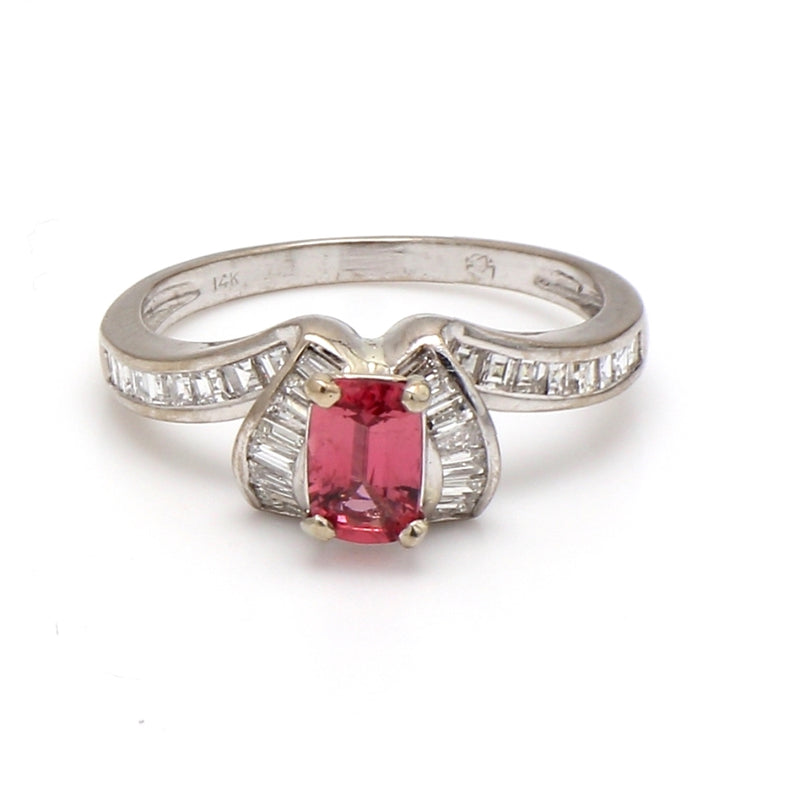 14K White Gold Orange Pink Spinel & Diamond Ring - Sz. 7