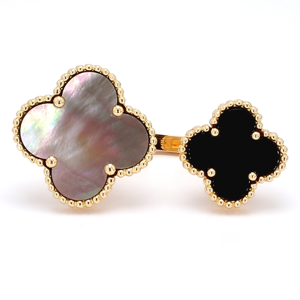 Van Cleef & Arpels 18k Gold Onyx and MOP Alhambra between the finger Ring - Sz. 5¼