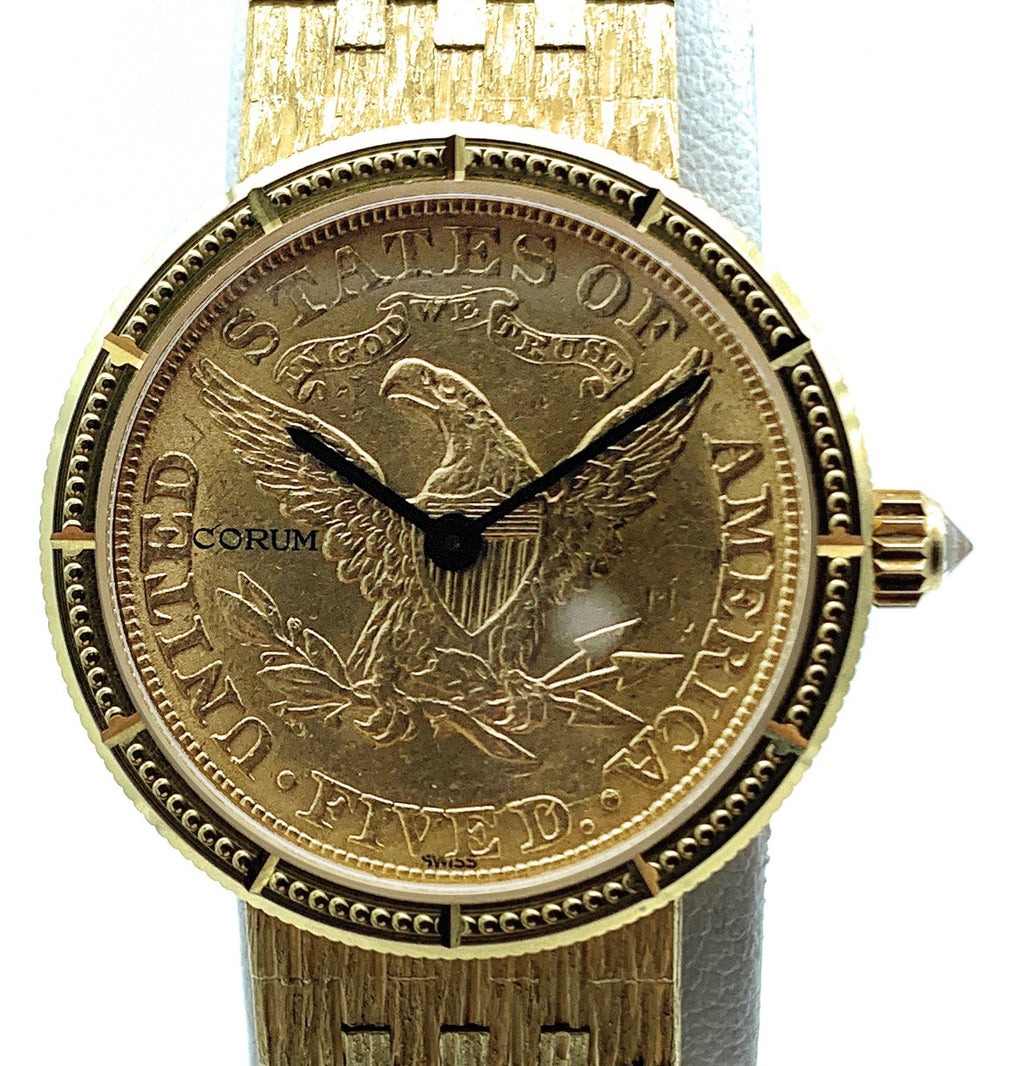 CORUM 18K Yellow Gold 1892 $5 Eagle Gold Coin Oval Mesh Bracelet Ladies Watch