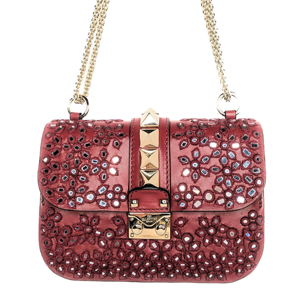 Valentino Garavani Embroidered Small Glam Lock Flap Poudre