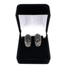 Vintage 18K White Gold 1.35ctw Black & White Diamond Clip-On Earrings