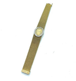 Vintage 1970's 18K Yellow Gold & 1.50ctw Diamond Mesh Bracelet Women's Watch