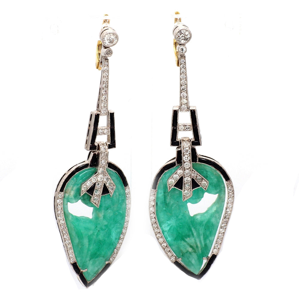 Platinum & Gold 1.55ctw Old European Cut Diamond & Carved Emerald Dangle Earrings