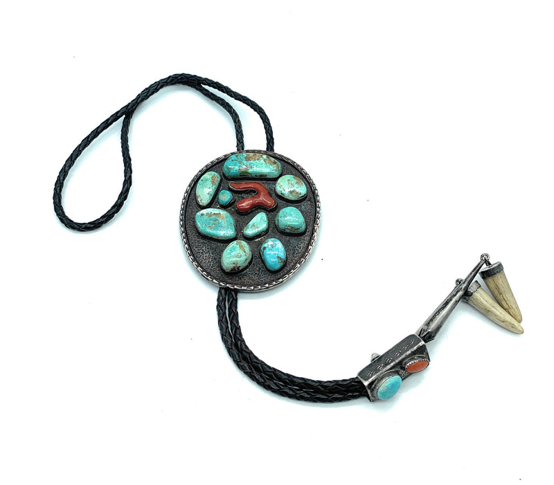 LARGE! Vintage 1950's Navajo Heavy Gauge Sterling Silver Turquoise & Coral Bolo Tie