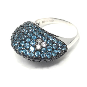 Le Vian Deep Sea Blue Topaz, Amethysts and Diamond 14K white Gold Ladies Ring