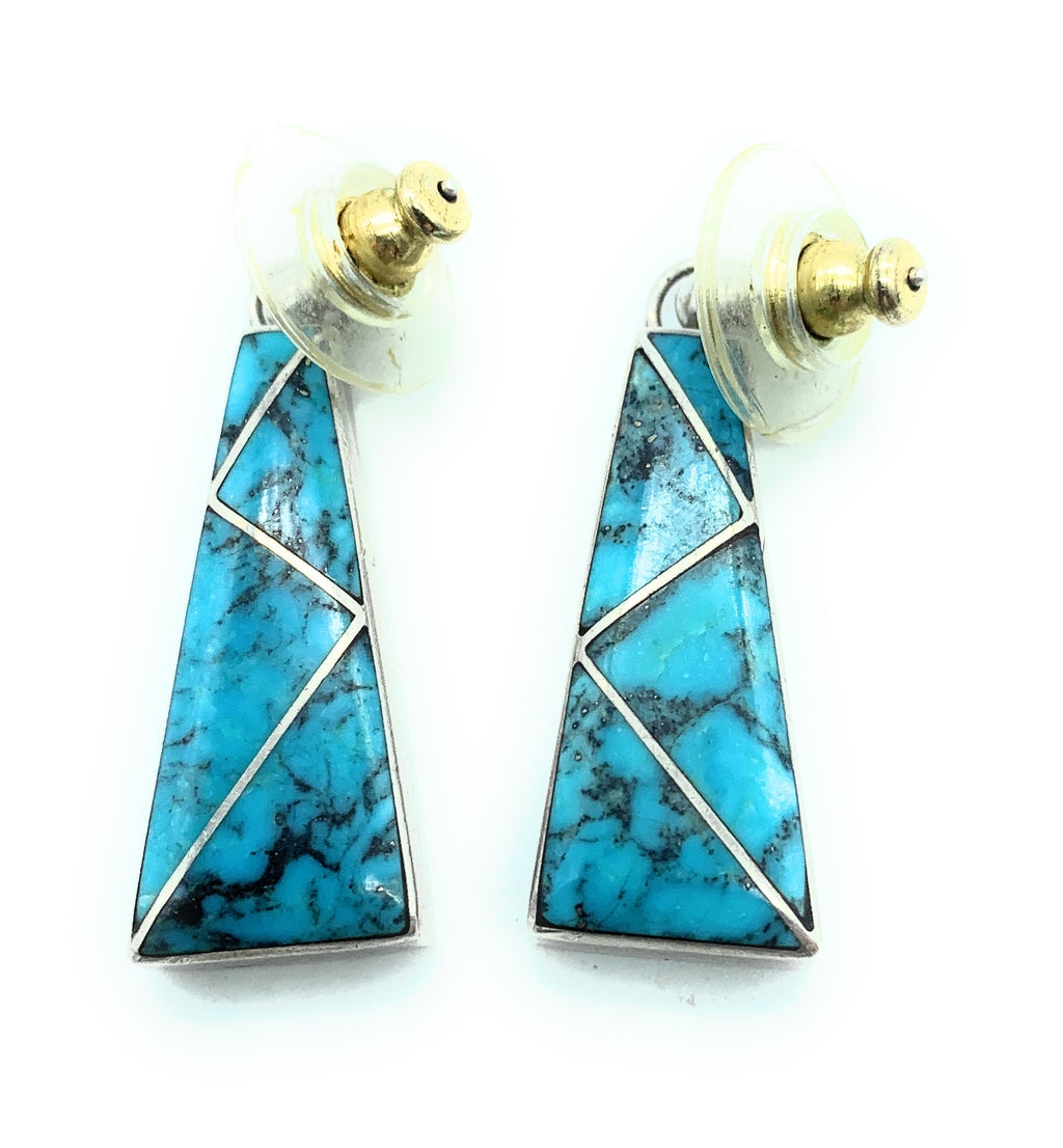 Vintage 1970's Zuni Sterling Silver & Turquoise Inlay Drop Earrings