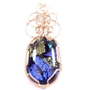 Black Stone with Blue, Purple, Yellow, Orange, and Teal Inlay, Rose Gold Tone Pendant