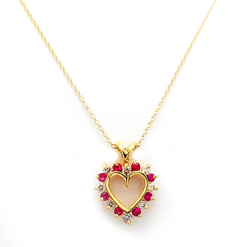 14K Yellow Gold, Ruby & Diamond Open Heart Pendant Necklace