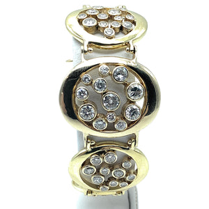 18K Yellow Gold 5.00ctw Diamond Circle Cluster Link Bracelet