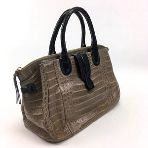 Nancy Gonzalez Cristina Croc Handbag Satchel in Brown and Black