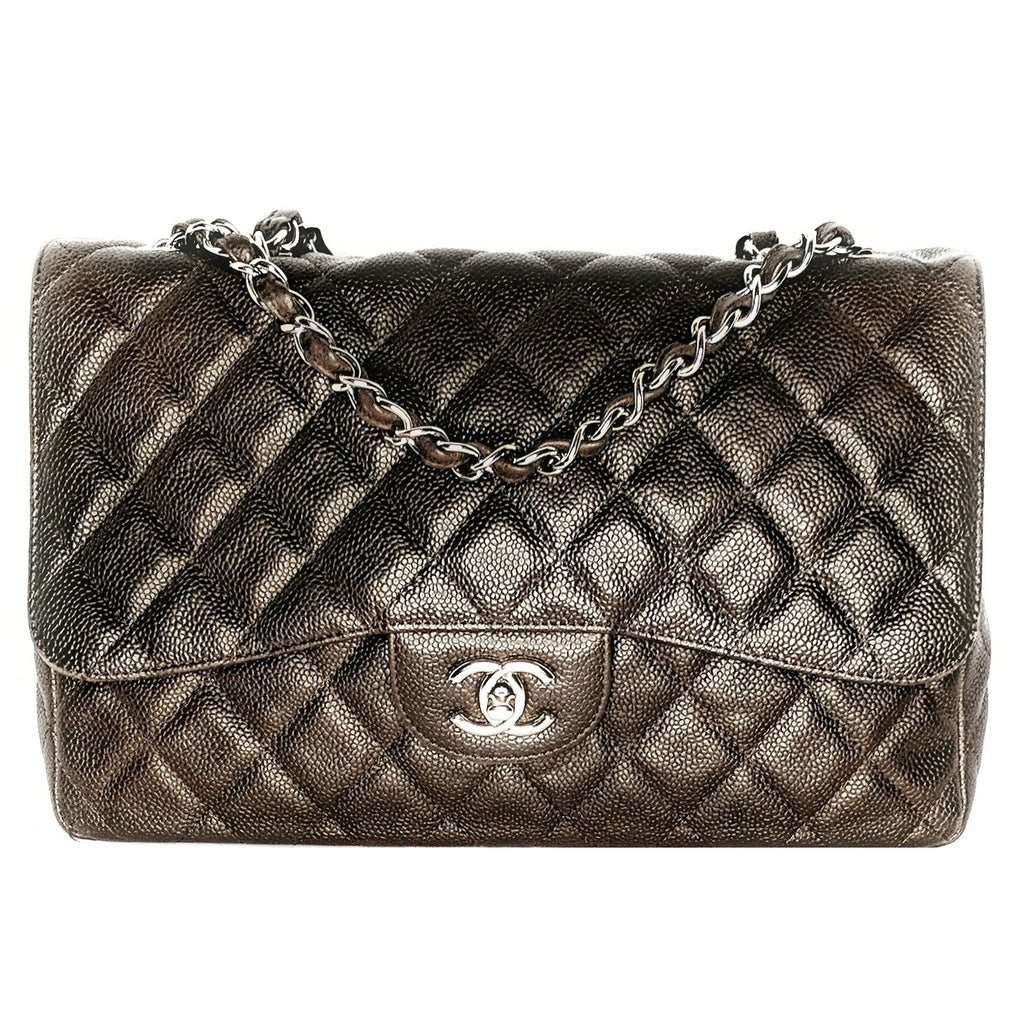 Chanel Dark Brown Classic Relaxed Caviar Jumbo Single Flap Bag