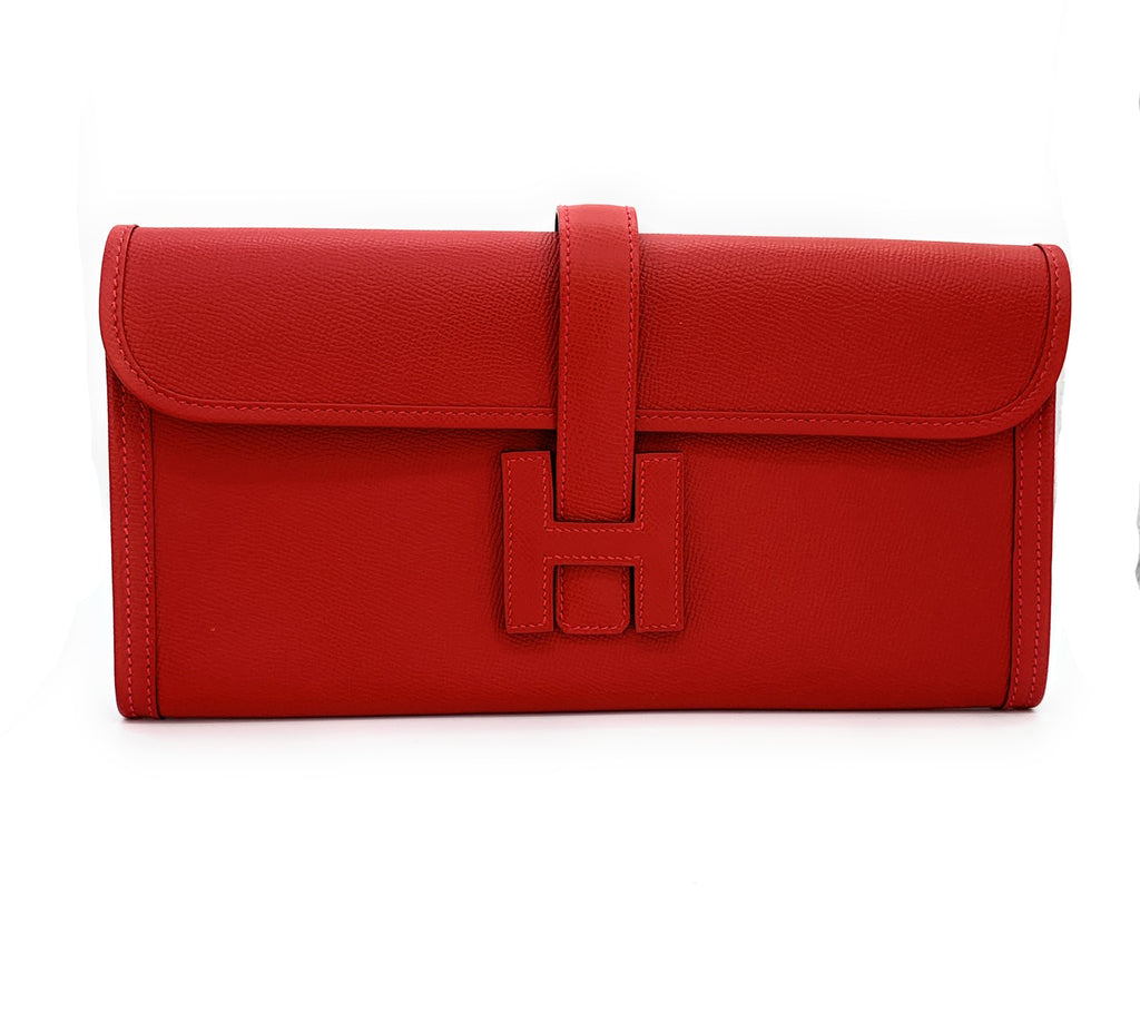Hermès Jige Elan 29 Swift Rouge Tomate Red Leather Clutch