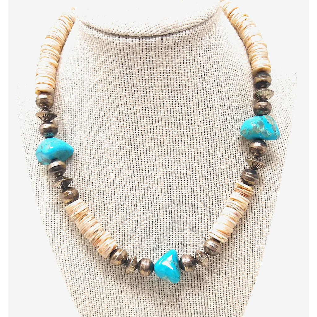 Turquoise Nugget and Shell Heishi Necklace