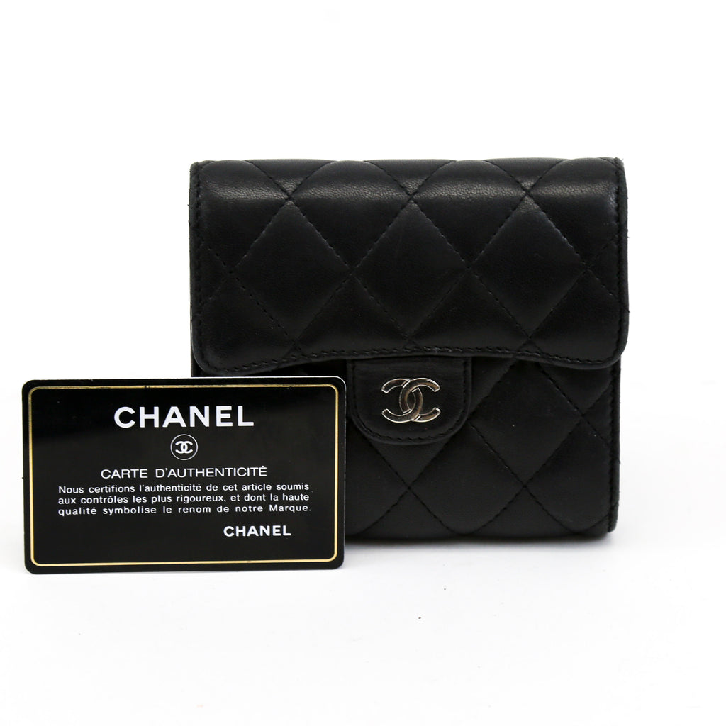 Chanel Classic Matelasse Quilted Black Lambskin Leather Trifold Wallet