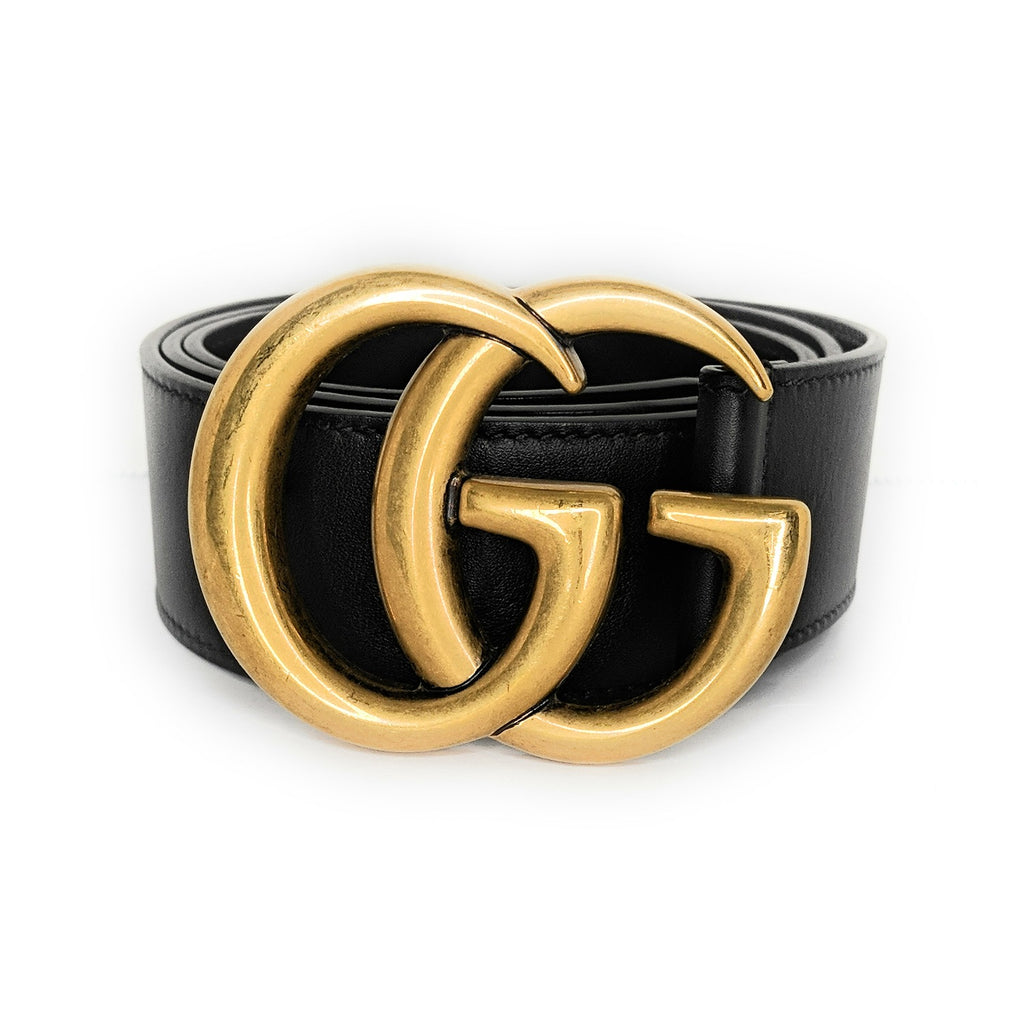 Gucci GG Buckle Leather Belt Size 80