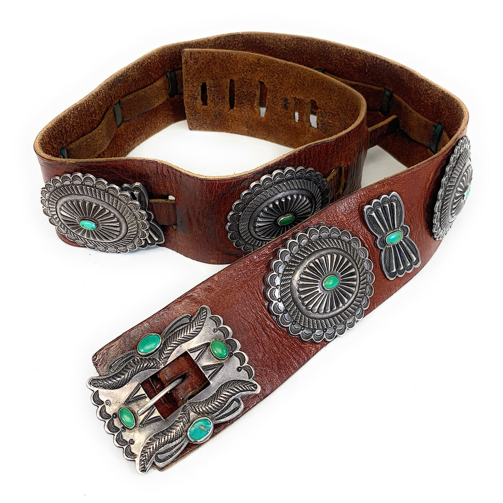 Vintage 1960's Navajo Sterling Silver & Carico Lake Turquoise Concho Belt