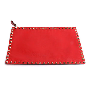 Valentino Garavani The Rockstud Red Flat Leather Pouch