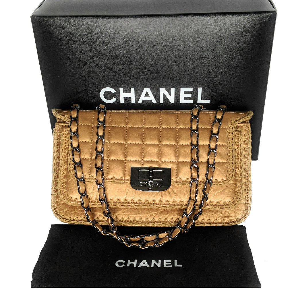 Chanel Metallic Beige Whipstitch Square Quilt Reissue Flap Bag