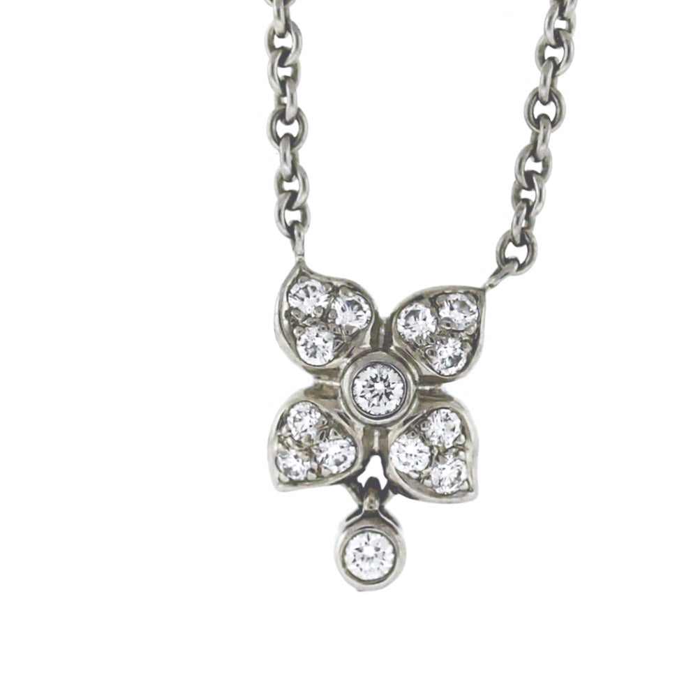 18K White Gold 0.50ctw Diamond Floral Pendant Necklace
