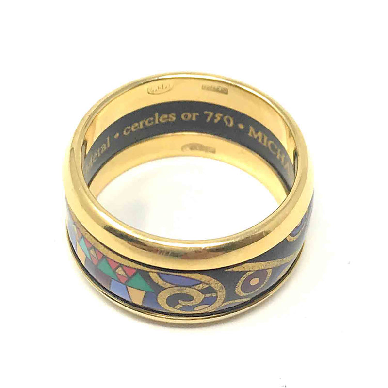 Authentic Vintage Michaela Frey Wien 18K Yellow Gold Paris Enamel Ring, Size 6.5