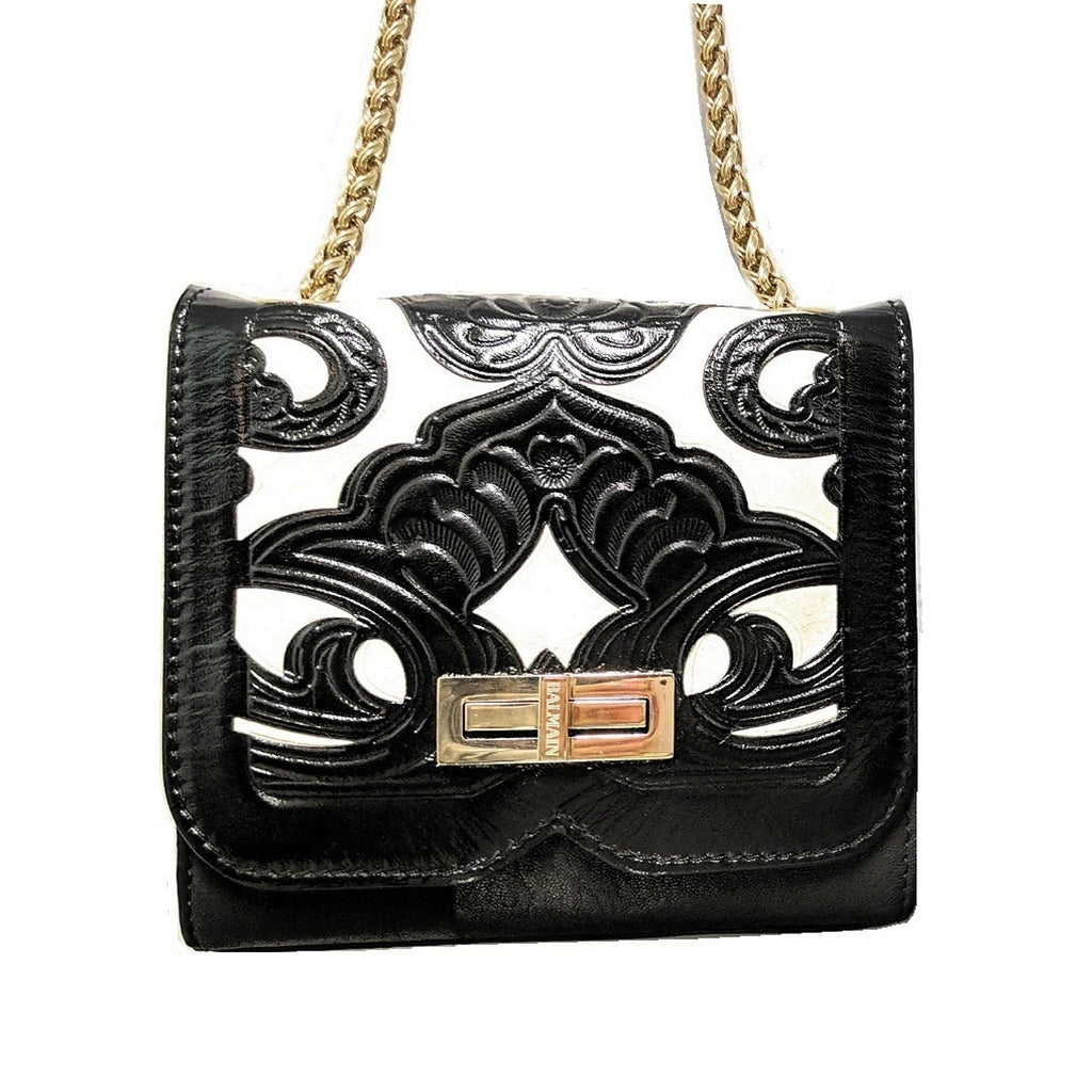 Balmain Ultimate Mini Black and White Embossed Leather Shoulder Bag