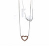 18K 2-tone Gold Pink Diamond Open Heart Pendant Necklace