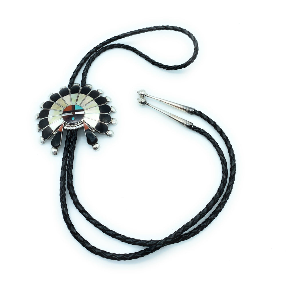 Vintage Old Pawn Zuni Sterling Silver Multi-Stone Inlay Kachina Sungod Bolo Tie