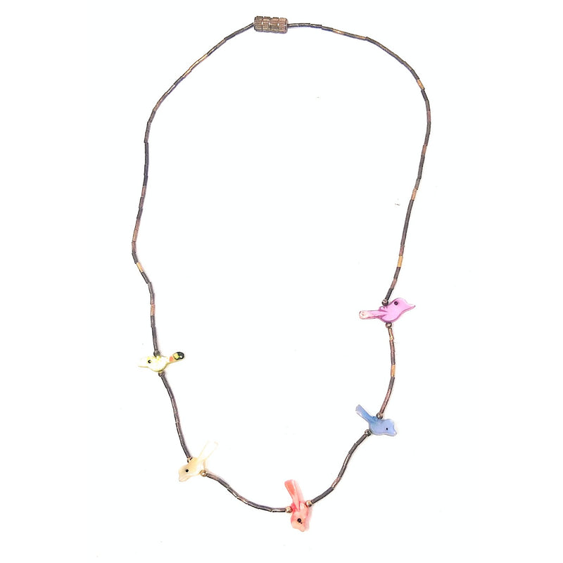 Native American Colored Mother of Pearl BIRD Fetish Necklace