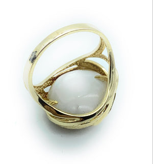 12mm Cultured Pearl & MOP Baroque Ring in 14K Yellow Gold- Sz. 6.75