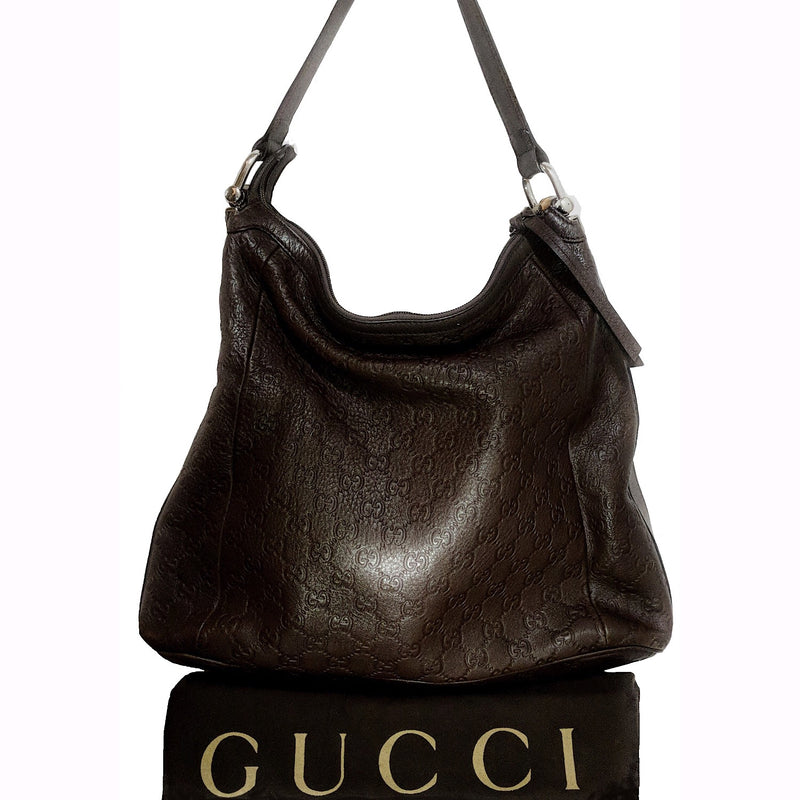 Gucci Chocolate Signature Guccissima Leather Bamboo D-ring Hobo