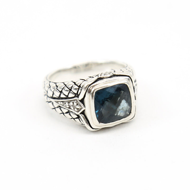 Scott Kay Sterling Silver Ring with Cushion-Cut Blue Topaz