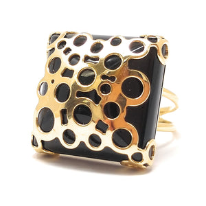 Italian 14k Gold and Onyx Cocktail Ring size 7 34