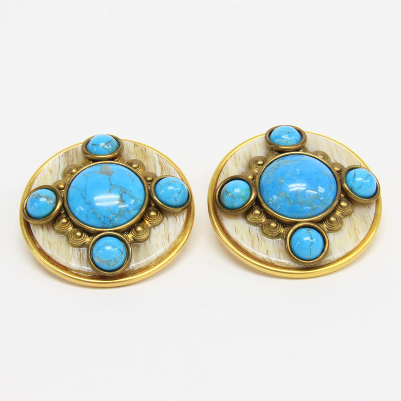 Patti Horn Gold Tone and Faux Turquoise Circle Clip-On Earrings
