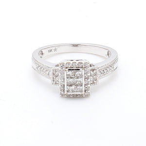 10K White Gold 0.33ctw Diamond Engagement Ring - Sz. 6.5