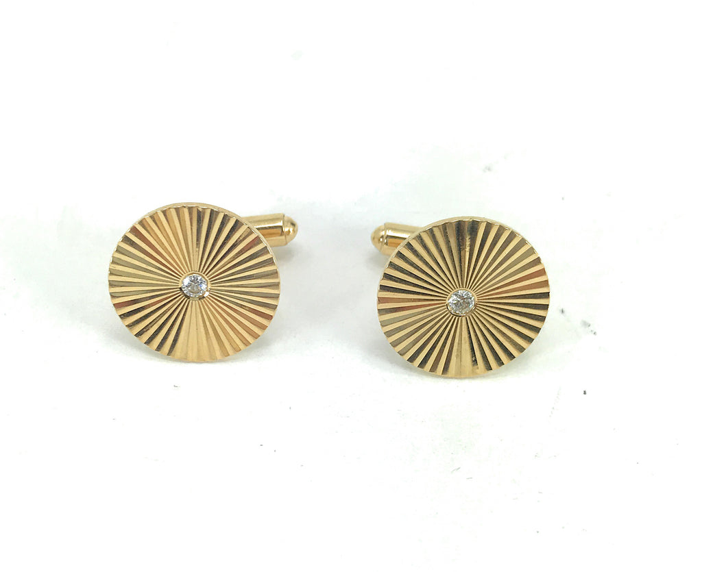 1950's VINTAGE 14K Diamond Starburst Grooved Inset Round Cuff Links Yellow Gold