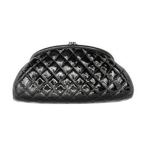 Chanel Black Quilted Patent Calf Leather Timeless Clutch