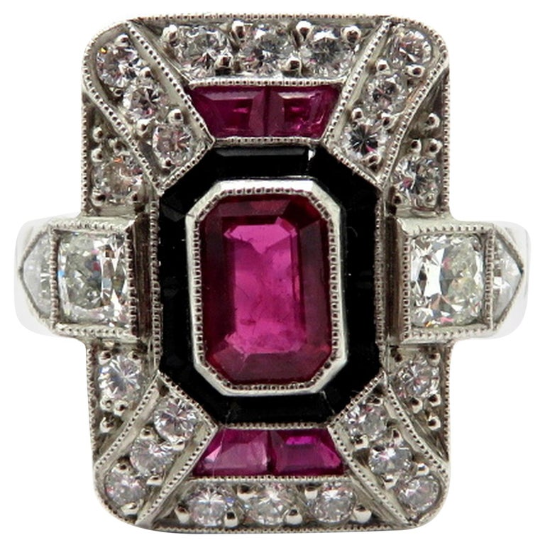 Platinum Diamond Ruby and Onyx Art Deco Style Ring, Size 6.5