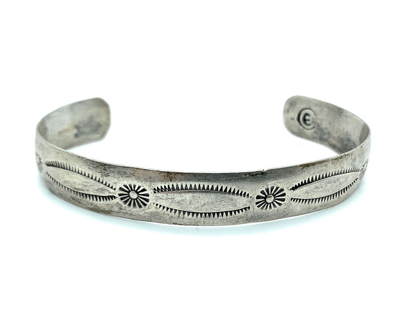 Vintage Old Pawn Navajo 1960's Sterling Silver Repousse Cuff Bracelet