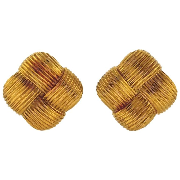 Asprey & Garrard Square Ribbed 18K Yellow Gold Clip-On Earrings