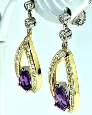 STUNNING 18K Gold Amethyst & Diamond Drop Earrings