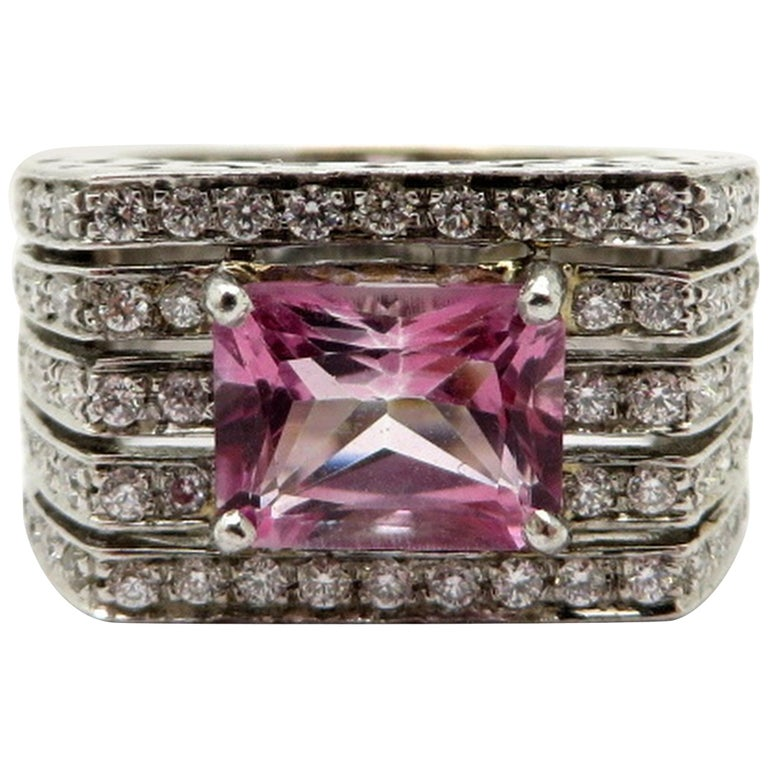 18K White Gold Pink Tourmaline & Diamond French Hallmarked Designer Ring, Size 7