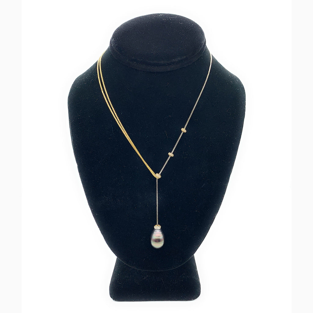 14K Two-Tone Gold Black South Sea Tahitian Pearl & 0.10ctw Diamond Necklace