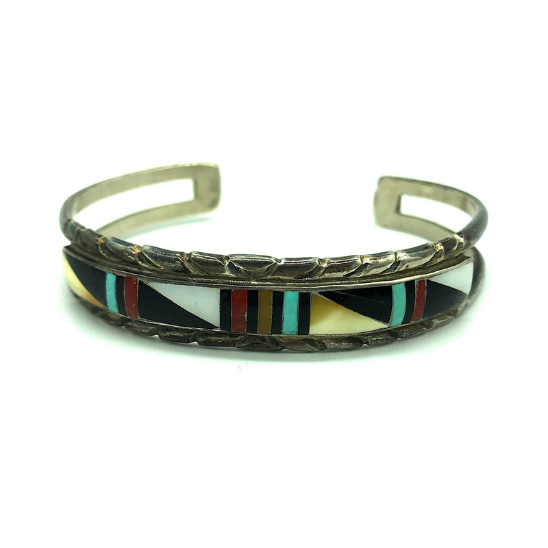 Vintage Native American Zuni Sterling Silver Multi-Stone Inlay Cuff Bracelet -Signed, Size 6 1/2