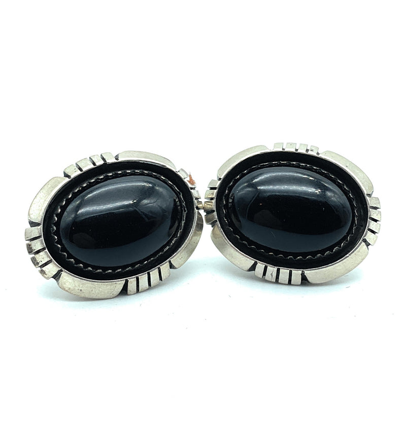 Vintage 1970's Navajo Sterling Silver Black Onyx Post Earrings