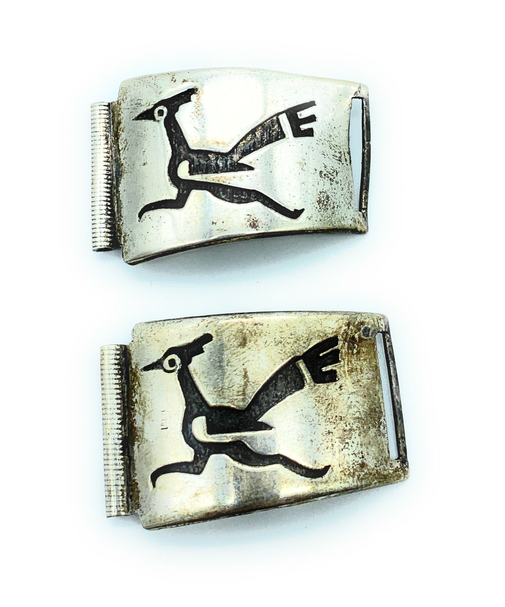Vintage Old Pawn Hopi Sterling Silver Overlay Watch Tips
