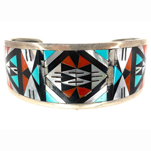 Vintage Zuni Sterling Silver Multi-Stone Inlay Cuff Bracelet - Signed