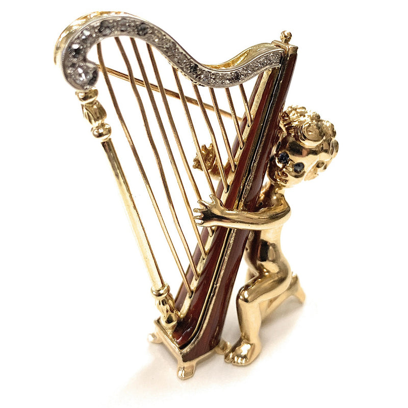 William Ruser 14K Gold, Enamel & Diamond Wednesday's Child Playing Harp Brooch